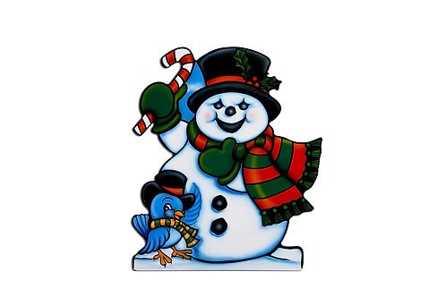 Snowman with Candy Cane and Bluebird