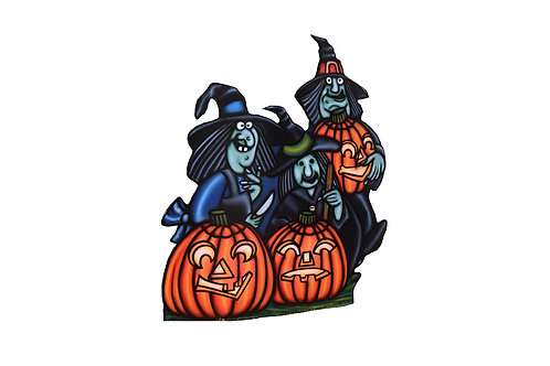 Three Witches with Pumpkins