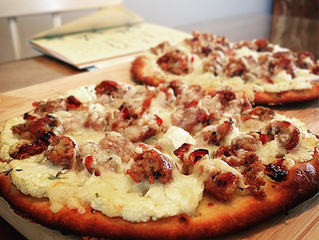 Recipe: Sausage, Fig, Cauliflower, and Gruyere Cheese Flatbread