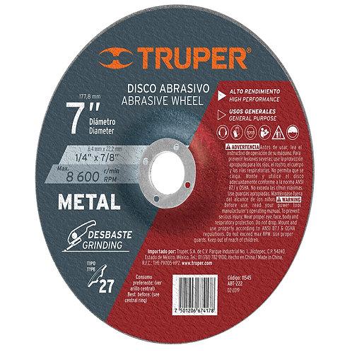 "Disco Desbaste Metal, Tipo 27, Diámetro 7"", Alto Rendimiento Truper"