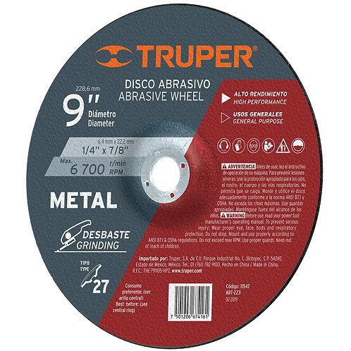 "Disco Desbaste Metal, Tipo 27, Diámetro 9"", Alto Rendimiento Truper"