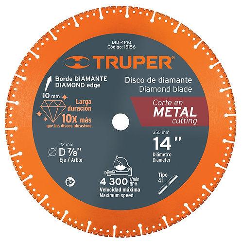"Disco de Diamante 14"" Corte Metal Truper"