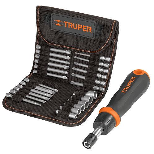 Juego Destornillador (desarmador) tipo matraca 24 piezas Truper