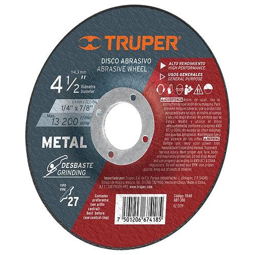 "Disco Desbaste Metal, Tipo 27, Diámetro 4-1/2"", Alto Rendimiento Truper"