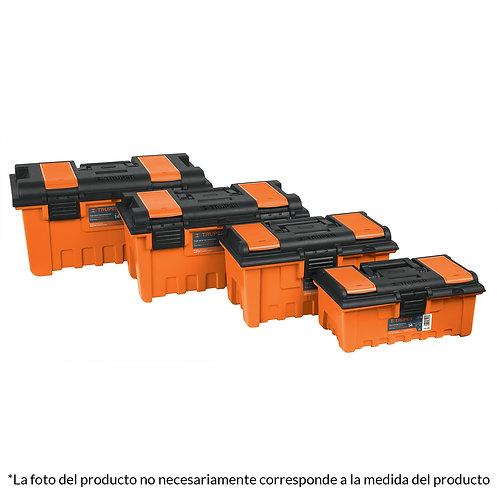 """Caja Herramientas Plástica Naranja 19"""" con Compartimientos Truper"""