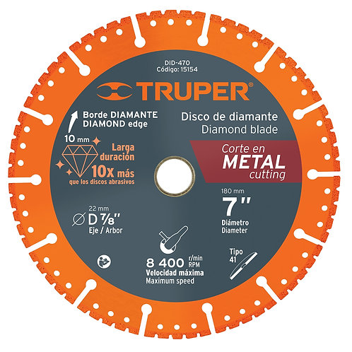 "Disco de Diamante 7"" Corte Metal Truper"