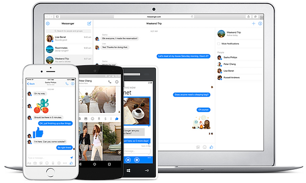 macbook and smartphone displaying facebook messenger