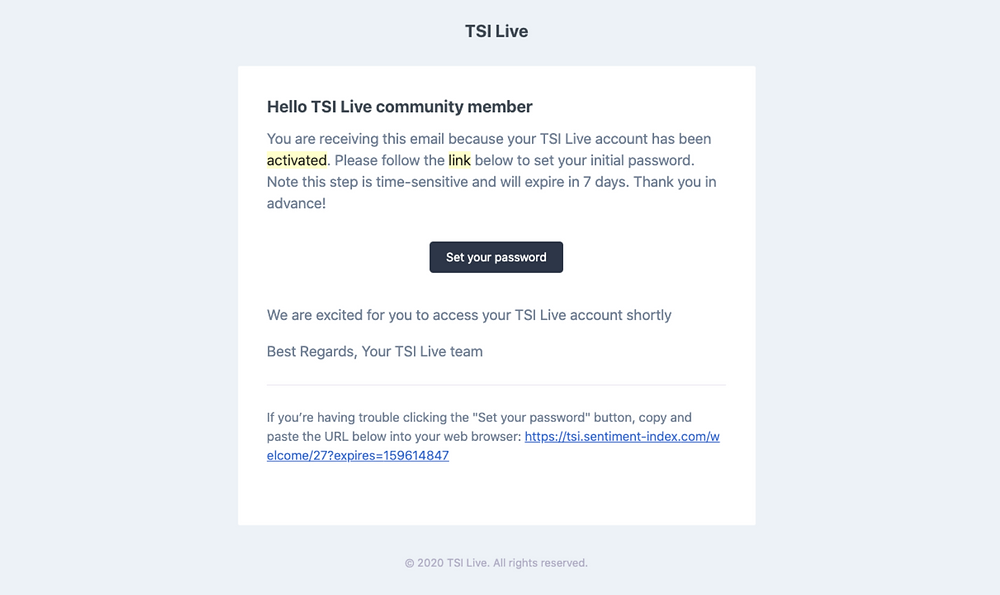 TSI Live account activation email