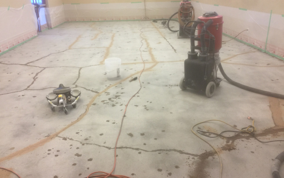 Carpet removal/Polish w/ crack and hole repair