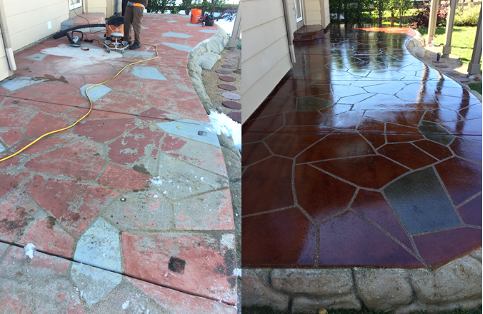 Patio Stain & Seal before & after