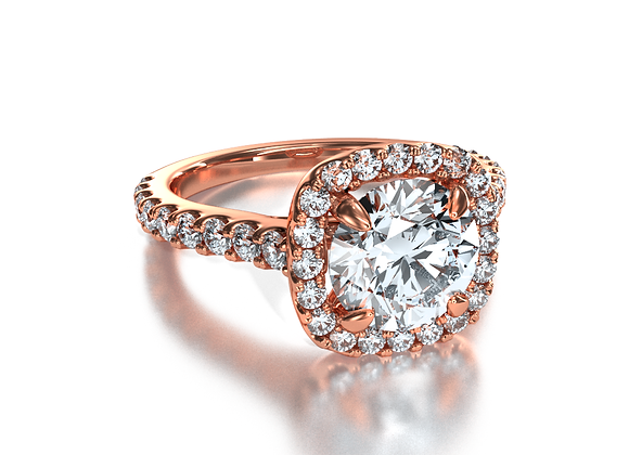 Halo Square Pave Round (Rose Gold)
