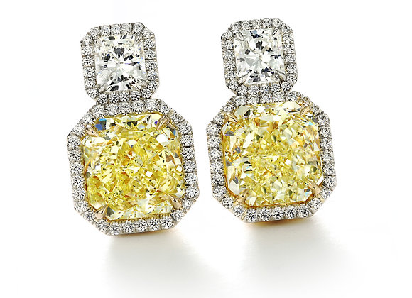 8ct Fancy Yellow Radiant Earrings