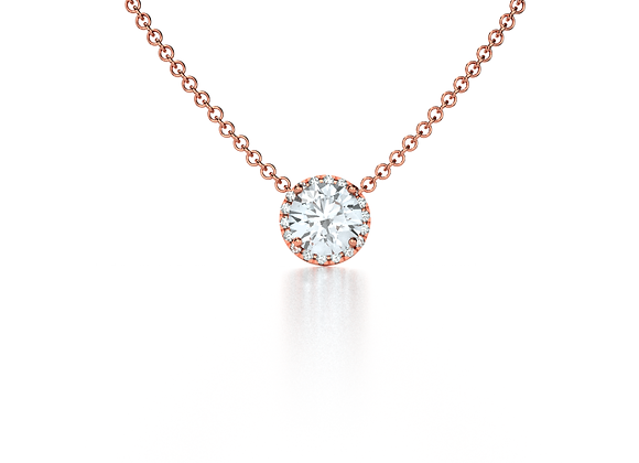 Halo Diamond Pendant (Rose Gold)