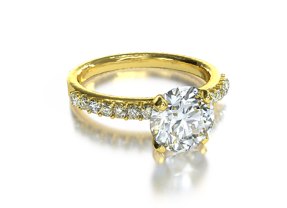 Round Pave Solitaire (18k Yellow Gold)