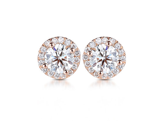 4.00ct Halo Studs in Rose Gold