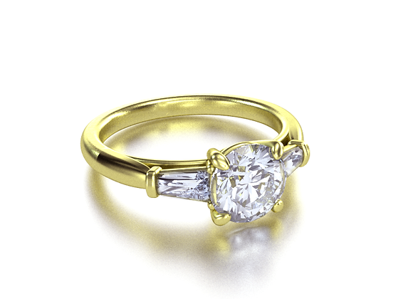 Round With Trapezoids (Yellow Gold)