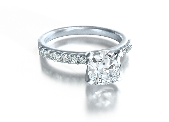 Cushion Pave Solitaire