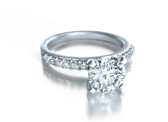Round Pave Solitaire