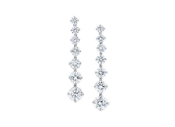 Fourteen Stone Diamond Drop Earrings