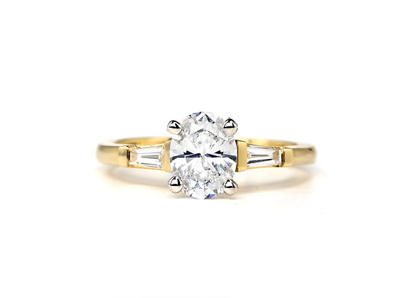 Oval Diamond Ring W/ Bagguettes