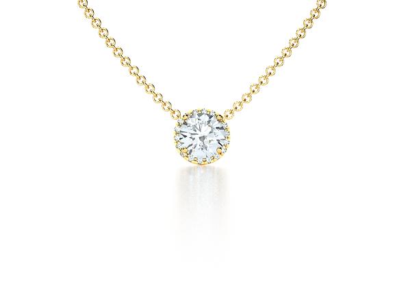 Halo Diamond Pendant (Yellow Gold)