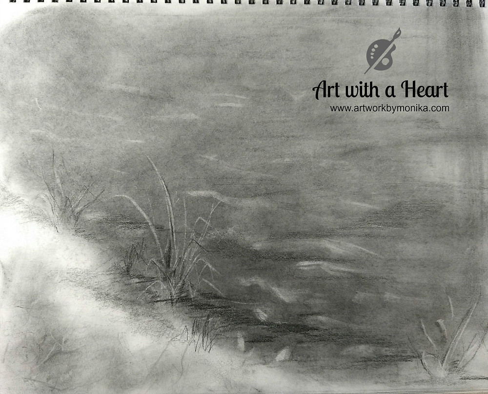A sketch using graphite powder, pencils and kneaded eraser by Atlanta Artist Monika Gupta