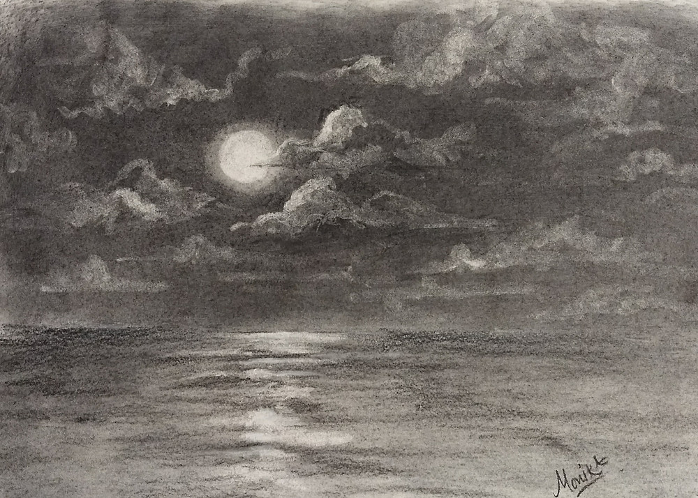 Tutorial for an easy and quick way to draw clouds using charcoal