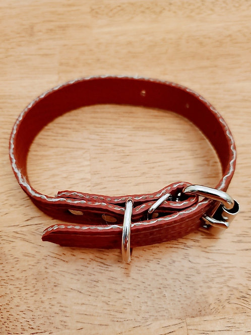 Adjustable Dog Collar -- Firehose Red - Medium