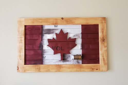 Spalted Beech Live Edge Canadian Flag with Embossed Maple Leaf