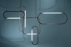 NODE installazione composta dalle lampade realizzate con giunchi e led