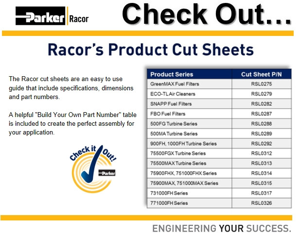 Racor Cut Sheets