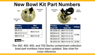 Notice: New Bowl Numbers for Racor 300/400/600/700 Series