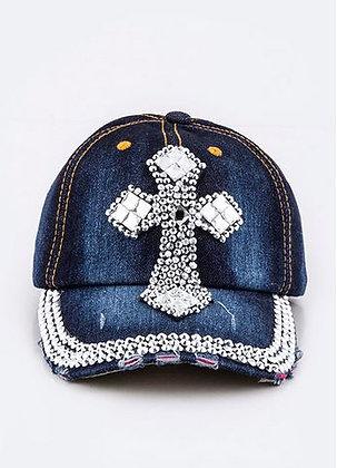 DENIM AND RHINESTONE CROSS CAP