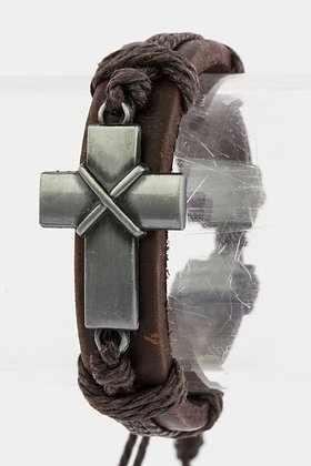 MENS LEATHER CROSS METAL BRACELET