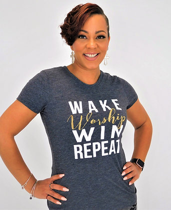 WAKE WORSHIP WIN TEE
