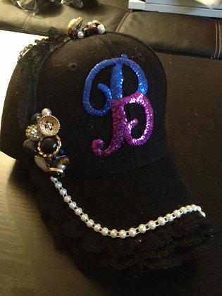 BLACK LACE PEARLS CUSTOM CAP (NO PAINT)