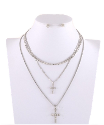 SILVER 3 CHAIN NECKLACE
