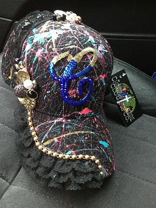 BLACK LACE & PEARLS CUSTOM CAP