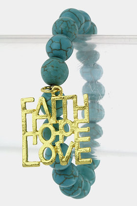 TURQUOISE FAITH HOPE LOVE BRACELET