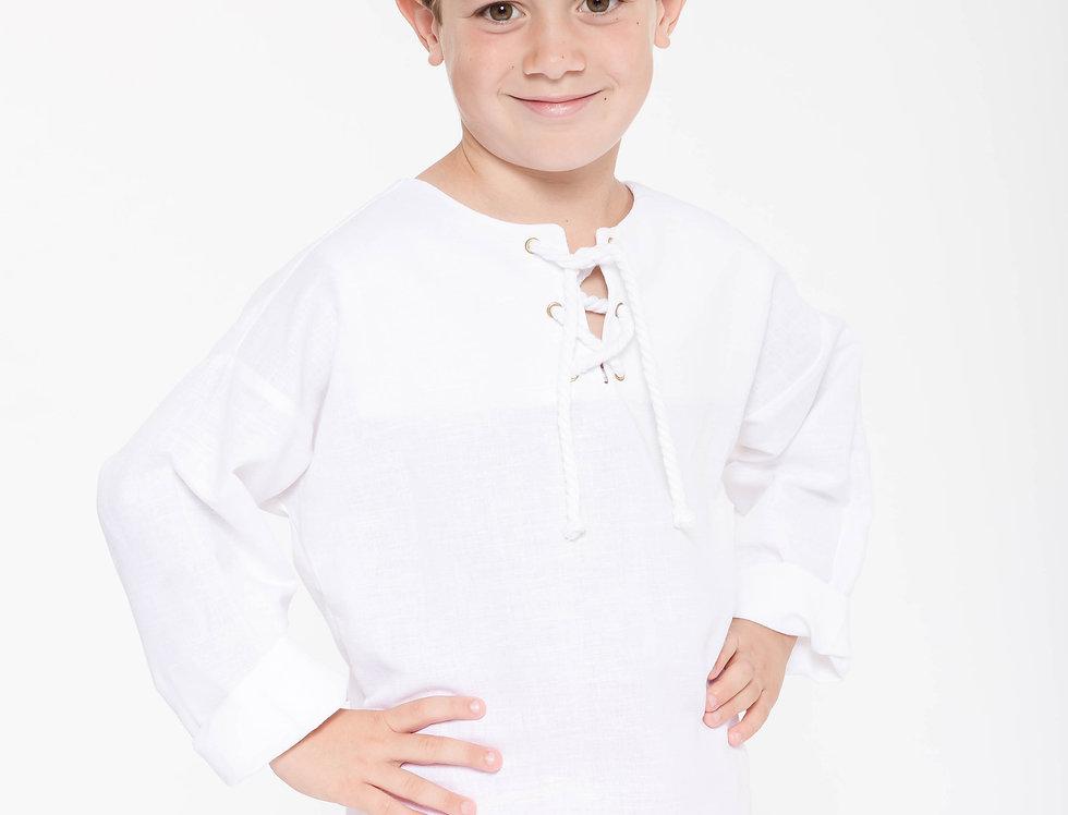 "Camisa white linen ""Rustic Black"""