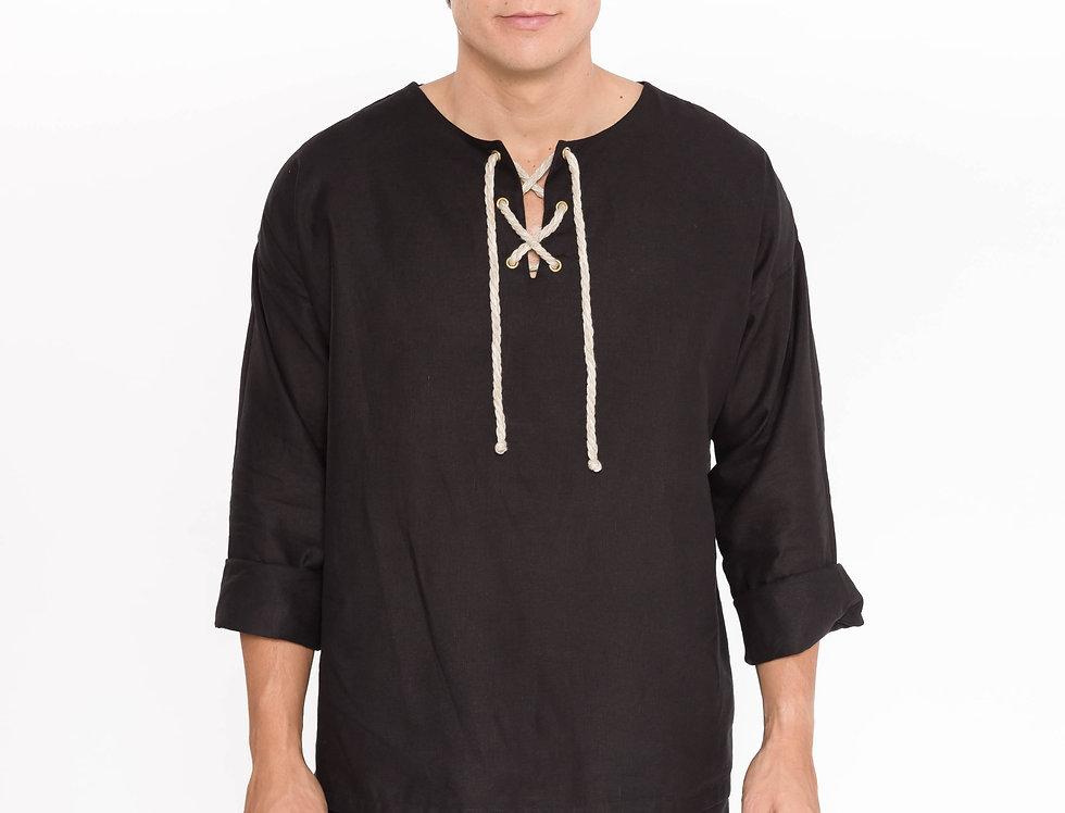 "Camisa black linen ""Rustic Black"""