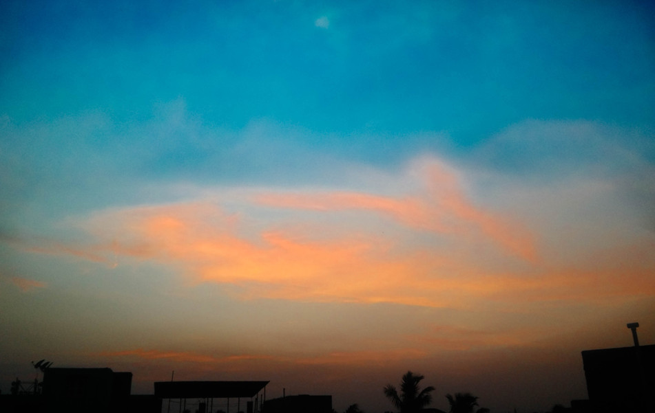 Afterglow of peacock feather cloud