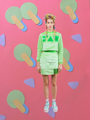 FAT embroidered green fluff set
