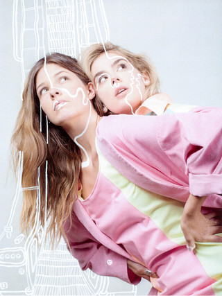 DRAWN TOGETHER  Meg Parry Studio X Wearing Maia Collaboration.  Photographer: Josie Mackerras  Assistant: Shelley Horan  Models: Vessela Karadjova Gracie Glen  Stylist: Belinda Hook  Illustrator: Maia Lillford