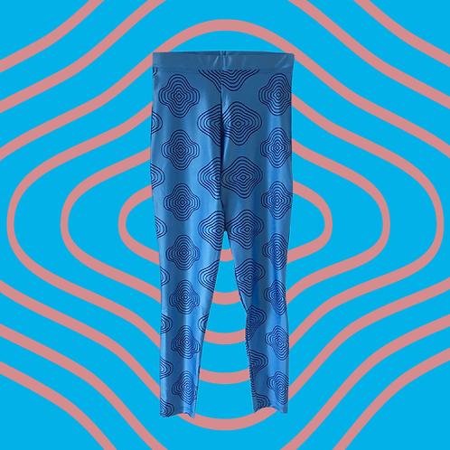 Blue Squiggle Leggings