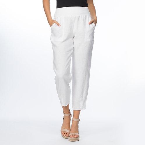 Pleat Hem Detail Linen Pant