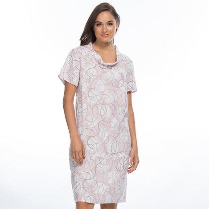 COWL NECK CIRCULAR PRINT LINEN DRESS