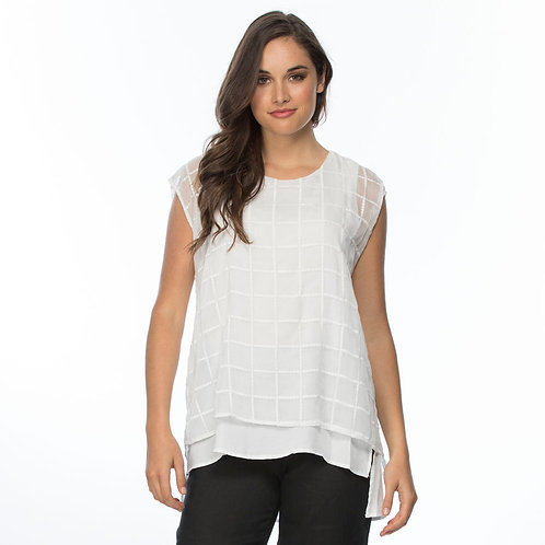 EMBROIDERED CHECK LAYER TOP