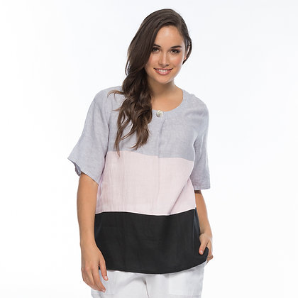 SPLICED LINEN TOP