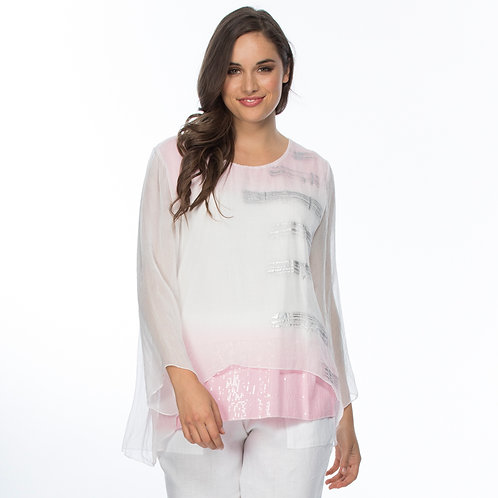 OMBRE CHIFFON OVERLAY TOP
